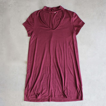 BSIC - choker mini swing dress - maroon