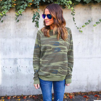 Fashion Women Casual Long Sleeve Camouflage Jumper Pullover Tops T-Shirt