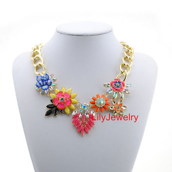 Gold Chunky Chain Necklace Colorful Flower Charm Necklace Statement Bib Necklace Bubble Collar Necklace Bridal Necklace Jewelry
