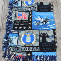 NEW US Air Force Digital Print Fleece, Throw, Blanket, Custom Made Hand Tied Military Fleece, 65 x 50