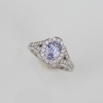 Lavender Sapphire Gemstone Engagement Ring 14k White Gold Diamond Halo Split Shank Weddings Anniversary