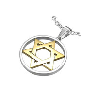 Stainless Steel 2tone Star Circle of Life by UnisexySupplies