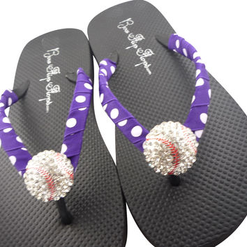 Purple Polka Baseball Flip Flops with Bling Rhinestone