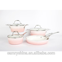8 Pcs Pink Outter 3.0mm Pressed Aluminum Cookware Set With S/s Handle - Buy Non-stick Pink Cookware Set,Ceramic Cookware Sets,Non-stick Cookware Sets Product on Alibaba.com