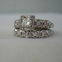 Vintage 1940s White Gold Diamond Engagement Ring Wedding by Addy