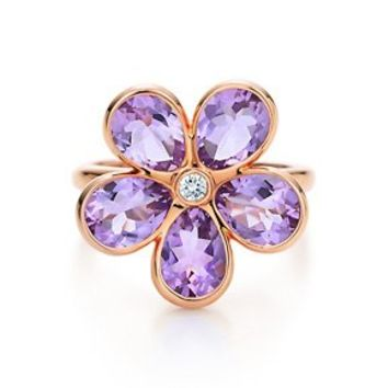 Tiffany & Co. -  Tiffany Garden flower ring in 18k rose gold with amethysts and a diamond.