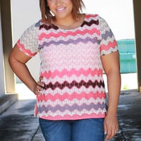 Keep The Zig Zag Crochet Overlay Tunic ~ Coral ~ Sizes 12-18