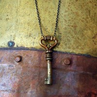 Bronze Key Necklace  Steampunk Necklace by earthfirestudios