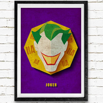 Joker Watercolor Art Print Batman Poster, DC Comics Superhero, Nursery Room Wall Art, Home Decor, Not Framed, Buy 2 Get 1 Free