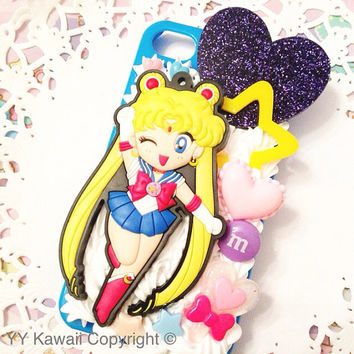 Custom Sailor Moon Kawaii Decoden Phone Case for Iphone 4/4s, 5, Samsung Galaxy S2, S3, S4 or Ipod Touch, HTC One X