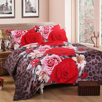 3D bedding sets  4 PCS comforter duvet cover set winter bedsheet queen king size Bed linen bedclothes flower print HomeTextiles