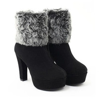 Plain Fur Platform Ankle Boots High Heels,Cheap in Wendybox.com