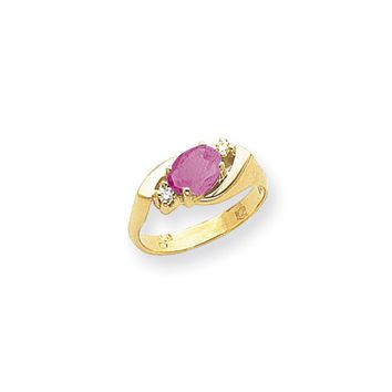 0.056 Ct  14k Yellow Gold 7x5mm Oval Pink Sapphire Diamond Ring VS2/SI1 Clarity and G/I Color