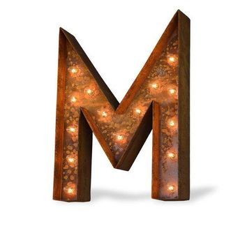 "24"" Letter M Lighted Vintage Marquee Letters (Modern Font/Rustic)"