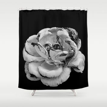 Rose in black and white  Shower Curtain by VanessaGF