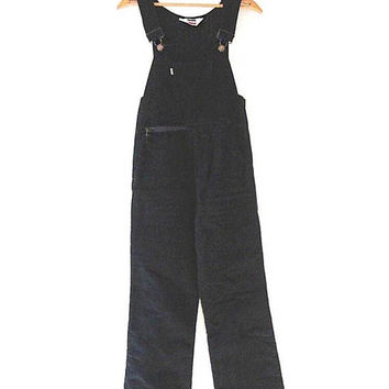 Wms Vintage 70s LEVIS Black Corduroy INSULATED White Tab Outdoor Snow Bibs Coveralls Overall Bell Bottoms Sz S