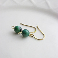 Azurite and Brass Earrings, Handmade Earrings, Gift for Her, Brass and Green Azurite Chrysocolla