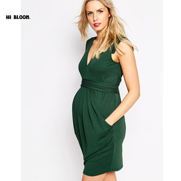 5th Avenue V-Neck Empire Sash Waist Maternity Dress