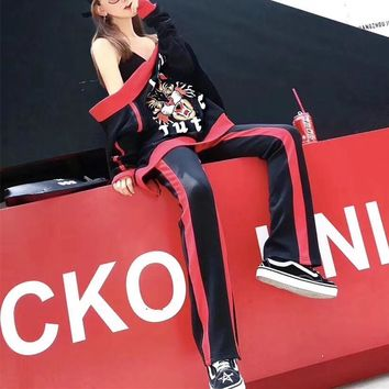 """Gucci"" Women Fashion Multicolor Stripe  Letter Tiger Head Embroidery Long Sleeve Cardigan Trousers Set Two-Piece Sportswear"