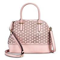 Women's Floral Cut Out Satchel Handbag - Pink
