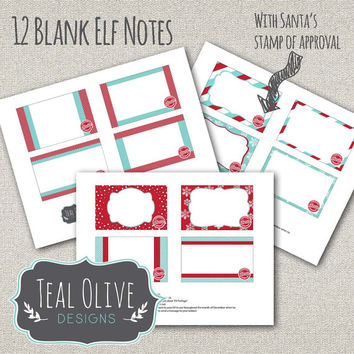 Elf Note Printables - Blank Notes - Santa Stamp of Approval - Instant Download - 12 Notes