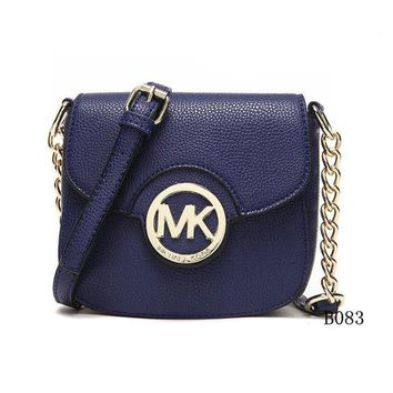 DCCK Michael Kors MK Leather Chain Crossbody Shoulder Bag Satchel BLUE