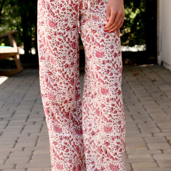 Drawstring Pant In Red Floral