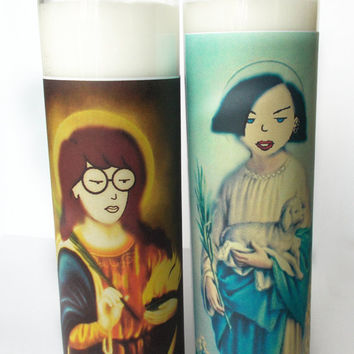 Saint Daria & Jane Prayer Candles - Gift Set - 2 Candles - Votive Christmas gag gift idea - sick sad world