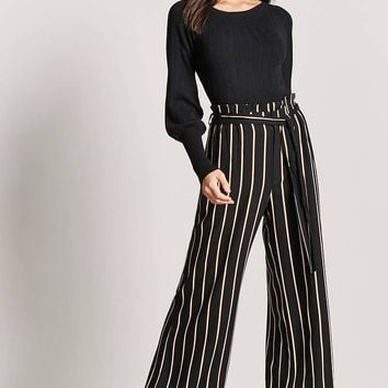 Stripe Paperbag Waist Pants