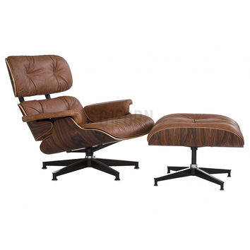 Reproduction of Charles and Ray Eames® Lounge Chair (Vintage Leather) + Ottoman | GFURN