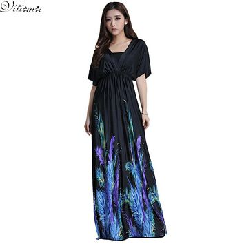 2017 Womens Summer Elegant Boho Beach Clothing Ladies Bohemian Print Maxi Long Dress Plus Size 5XL 6XL Vestidos