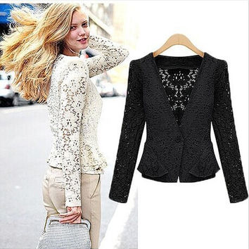 Women's Fashion Lace Hollow Out Jacket [8894741383]
