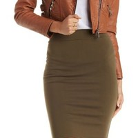 Olive Bodycon High-Waisted Pencil Skirt by Charlotte Russe