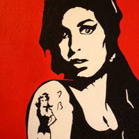 Amy, Amy, Amy Winehouse Painting acrylic hand painted om pop art music icon