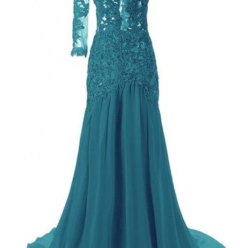 6fae25708cc83 JAEDEN Women's One Shoulder Sexy Mermaid Evening Prom Dress Party Gown