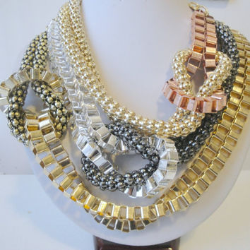 Dramatic Statement Necklace, Big Chunky Necklace, Chunky Statement Necklace, Multi Chain Necklace