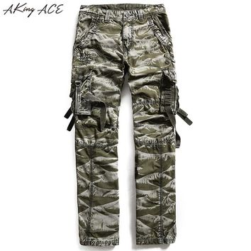 2017 New Aking ACE Mens Camouflage Cargo pants men's army trousers large size Camo military pants moto Mutil pockets, ZA213