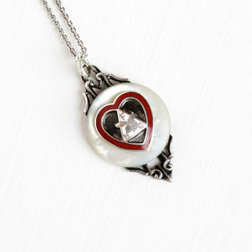 Vintage Art Deco Loyal Order Of Moose Sterling Silver Pendant Necklace - 1930s 1940s Red Enamel Heart Women's Mother of Pearl Jewelry