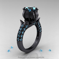 Classic 14K Black Gold 1.0 Ct Blue Topaz Solitaire Wedding Ring R410-14KBGBT