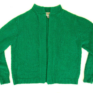 Vintage Emerald Green Cardigan Sweater - Chunky Knit, Open Front Cardigan, Classic, 50's, Preppy - Women's Size Large Lrg L