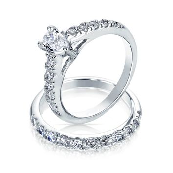 1CT Teardrop Solitaire CZ Engagement Wedding Ring Set Sterling Silver
