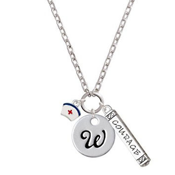 Mini Nurse Hat Script Initial Disc - W - Courage Strength Wisdom Zoe Necklace