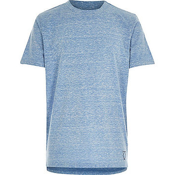 River Island Boys blue burnout stepped hem t-shirt
