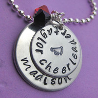 The Perfect Cheer - Deluxe Hand Stamped Personalized Custom Cheerleading Necklace - perfect for cheerleaders or cheer moms