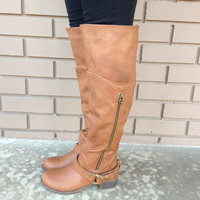 Cognac Knee High Buckle Boots