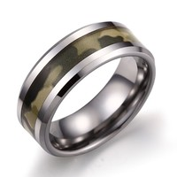 Caperci Men's 8mm Tungsten Carbide Camouflage Wedding Ring Size 7 to 13