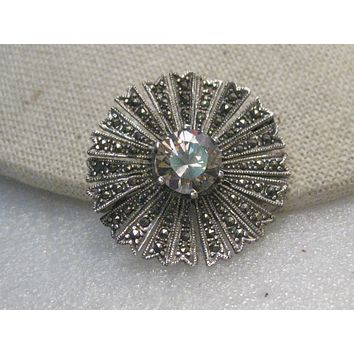 Vintage Sterling Marcasite Sunburst Brooch, Art Deco Theme, 10mm Pink Stone, 8.24 gr., 1980's