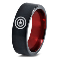 Captain America Inspired Red Black Tungsten Ring