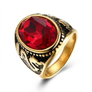 Red Stone Dragon Men Signet Rings Gold Color Seal Wedding Engagement Male Ring Punk Rock Hip Hop Biker Band Jewelry DCR023
