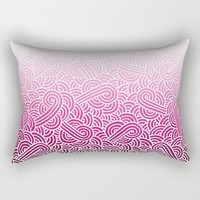 Ombre pink and white swirls zentangle Rectangular Pillow by Savousepate